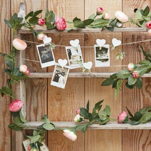 Pink Rose Artificial Garland 2m